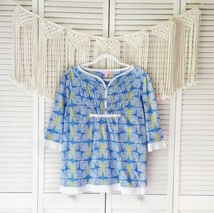 LILLY PULITZER Egan Blue Butterfly Tunic Blouse L